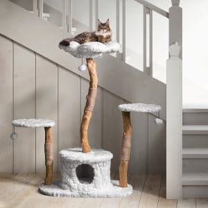realistic real wood cat tree